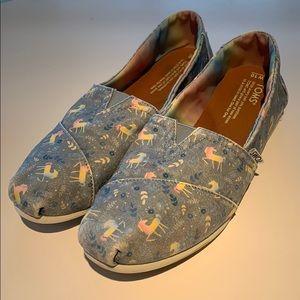 Blue Rainbow Unicorn Toms Slip On Shoes Sz 10
